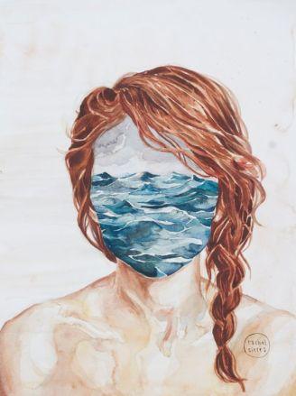 painting portrait woman sea