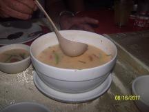 Shrimp Soup tastes more like shrimp. Slightly suttle taste of salt, served warm and flavory