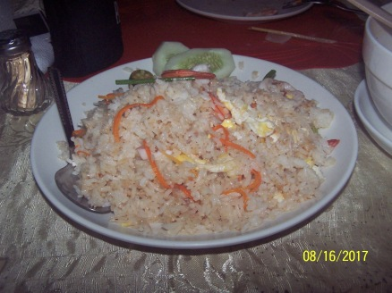 Fried Rice with bits of chicken carrots crambled eggs