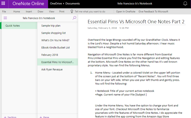Microsoft One Notes part 1